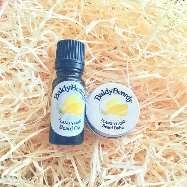 Ylang Ylang beard oil and balm combination pack by BaldyBeardy with dropper lid