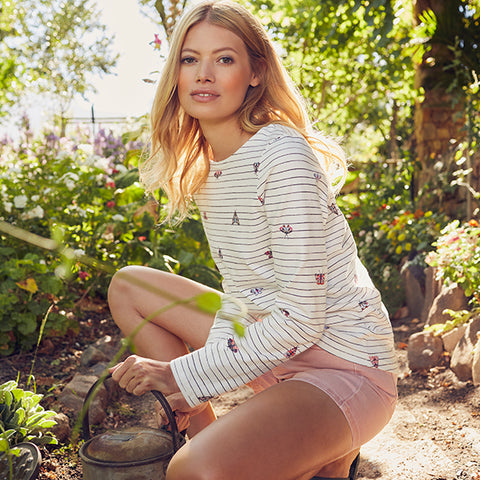 Joules Butterfly Harbour Top and Pink Denim Shorts