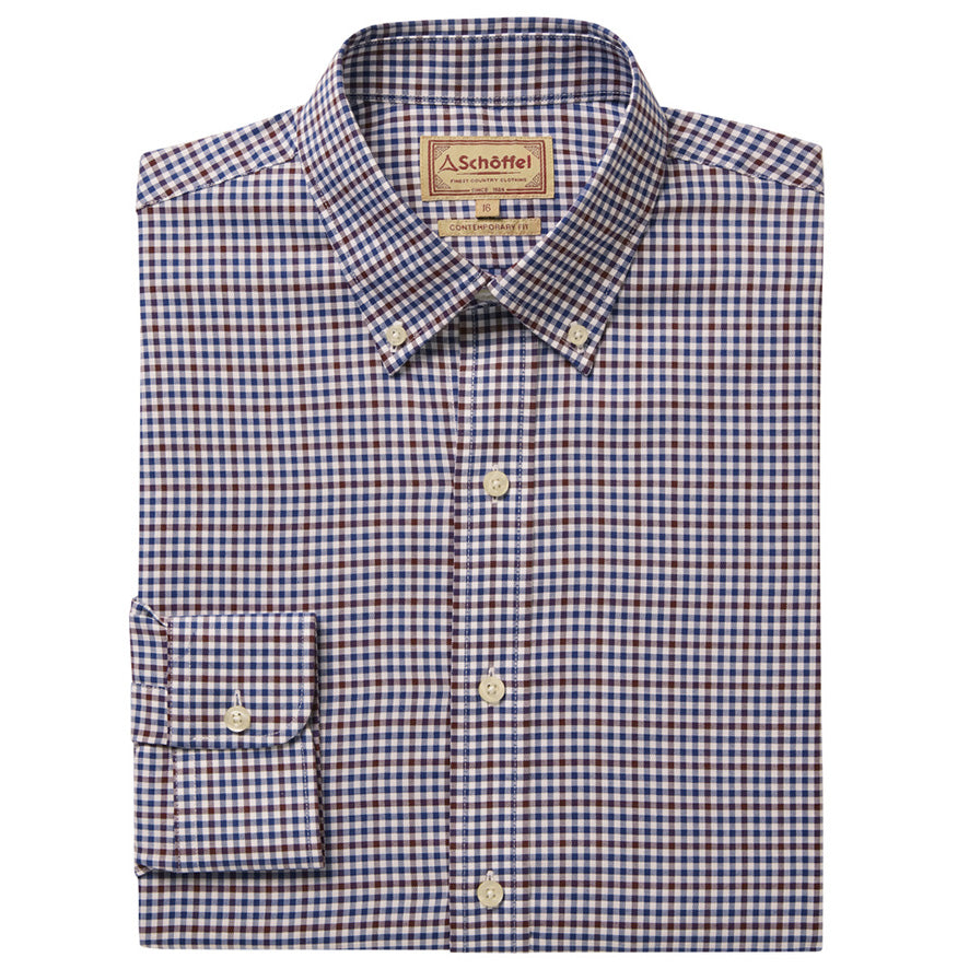 Schoffel Burnsall Shirt - Navy/Fig Micro Check