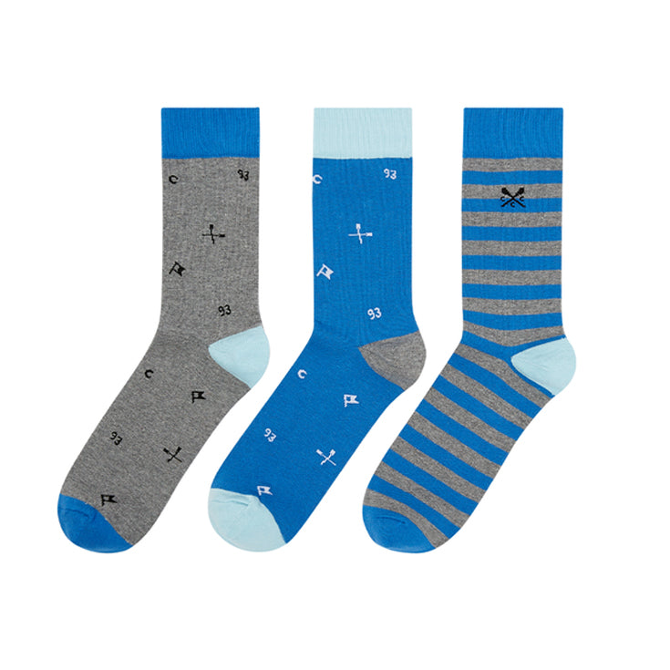Crew Clothing 3 Pack Bamboo Socks - Blue Logo