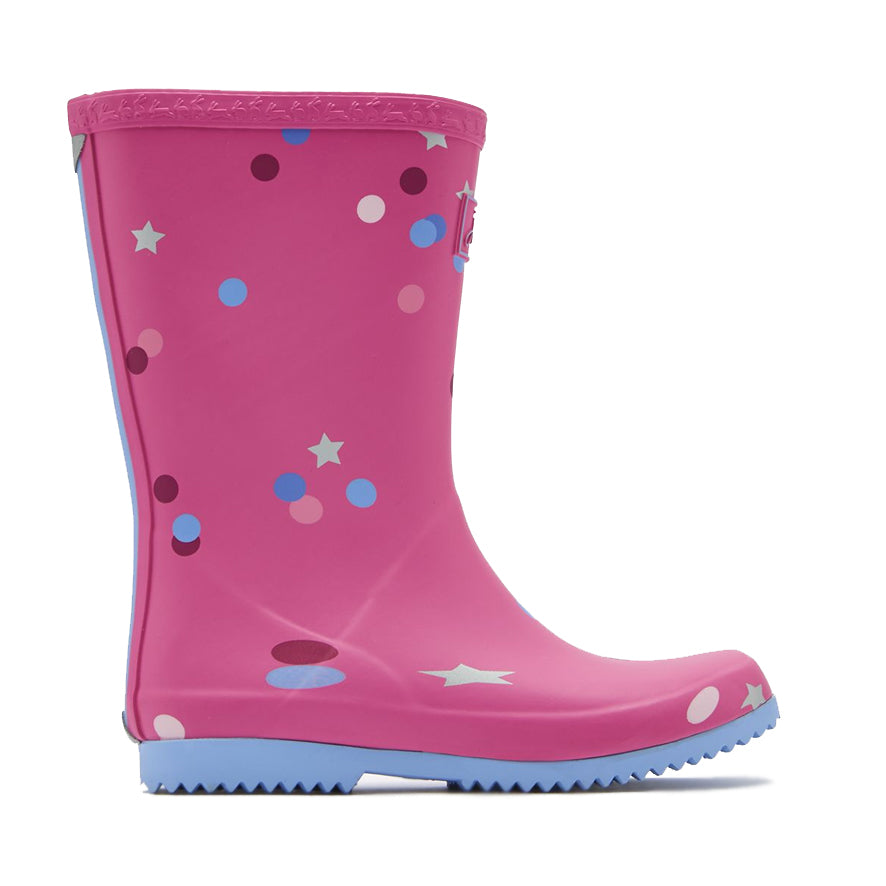 Joules Girls Roll Up Wellies - Pink Star Confetti