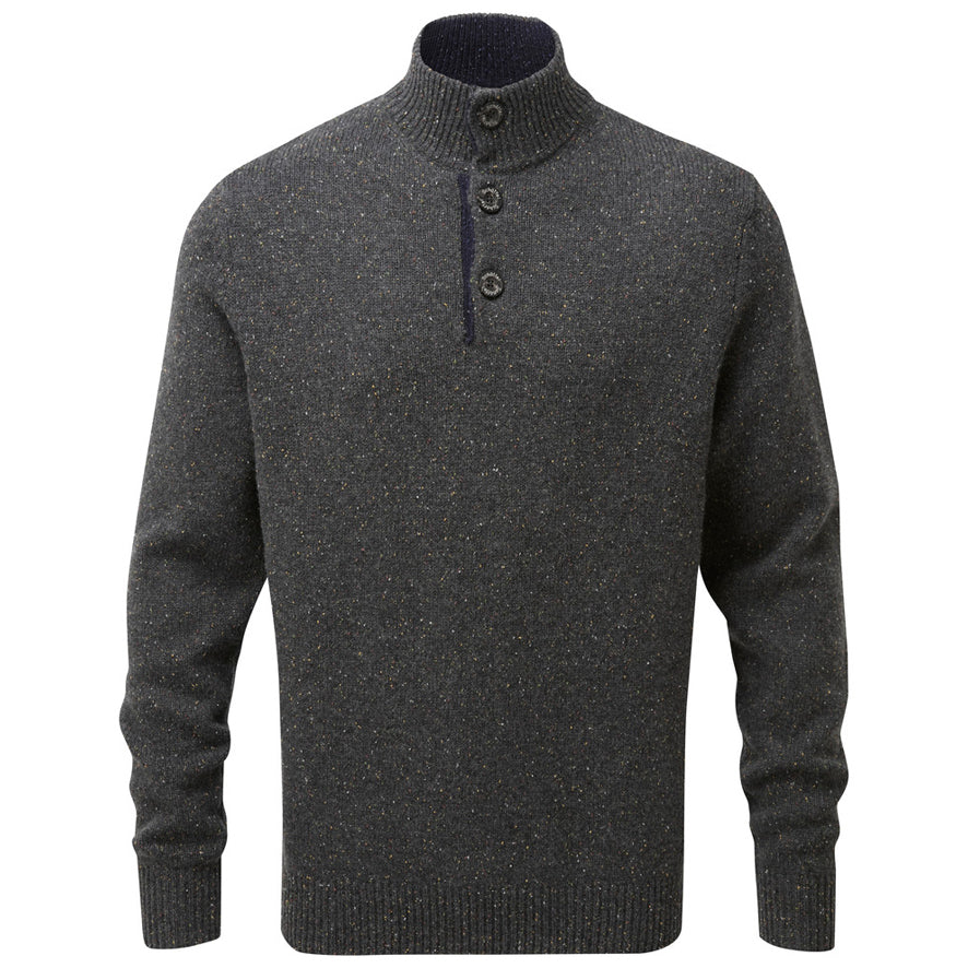 Schoffel Lambswool Chunky Button Jumper - Charcoal Fleck