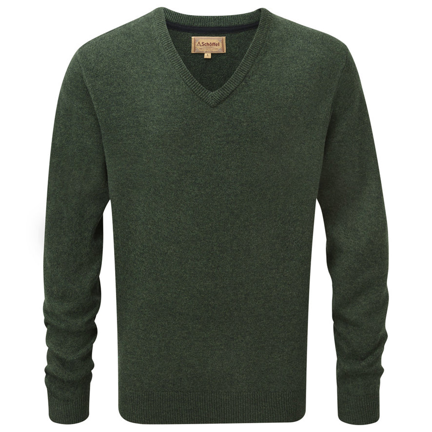 Schoffel Lambswool V Neck Jumper - Forest