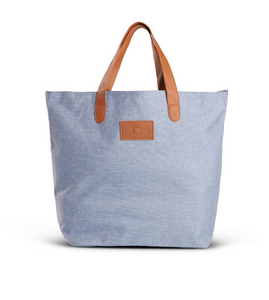 BLUE HEATHERED TOTE BAG