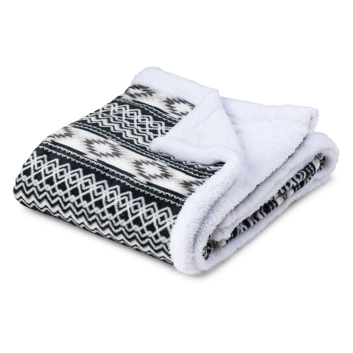 Aztec Plush Sherpa Fleece Blanket Throw