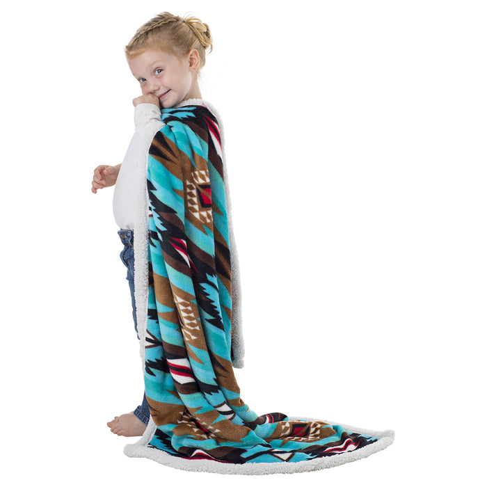 Aztec Plush Fleece Sherpa Baby Blanket