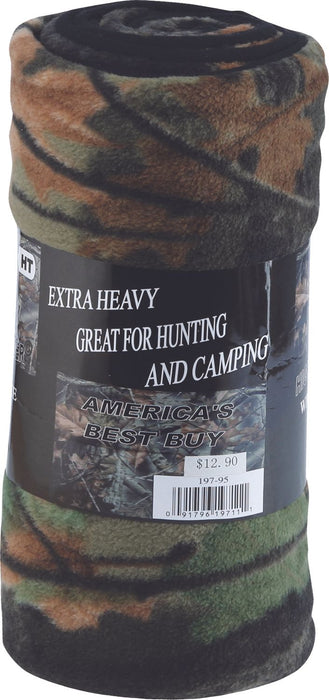 Highland Timber Camo Plush Fleece Sherpa Roll Blanket