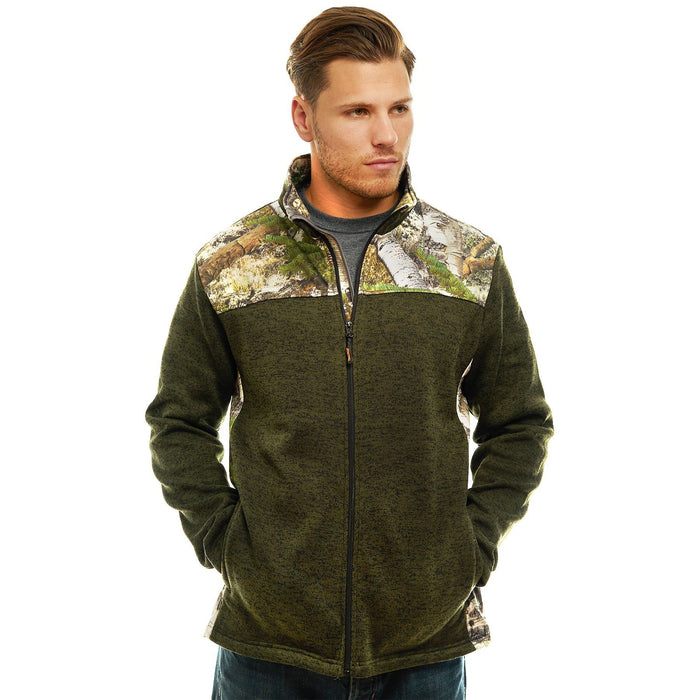 Men's Mossy Oak Signature Sweater Fleece Jacket Mountain Country Camo