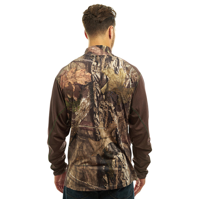Men's Mossy Oak 1/4 Zip Performance T-Shirt Break-Up Country Camo