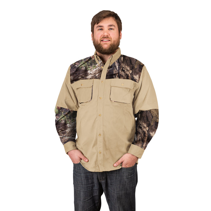 Men's Signature Cotton Twill Rugged Field Hunting Shooting Shirt, Mossy Oak Camo