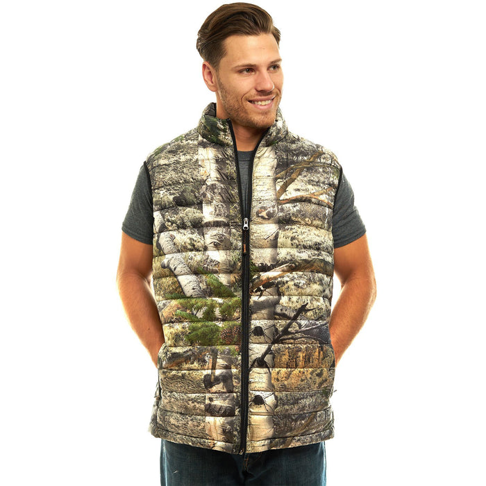 Men's Mossy Oak Down Puffer Vest Mountaion Country Camo