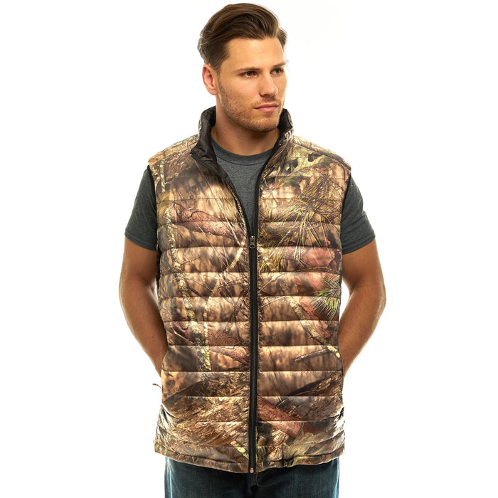 Men's Mossy Oak Down Puffer Vest Break-Up Country Camo
