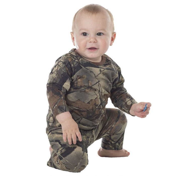 Infant - Toddler Cotton Long Sleeve T-Shirt and Long Pants Set Highland Timber Camo