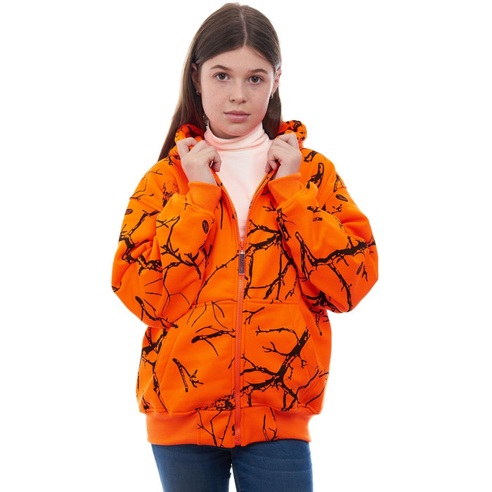 Kid's Double Fleece Full Zip Blaze Camo Hoodie