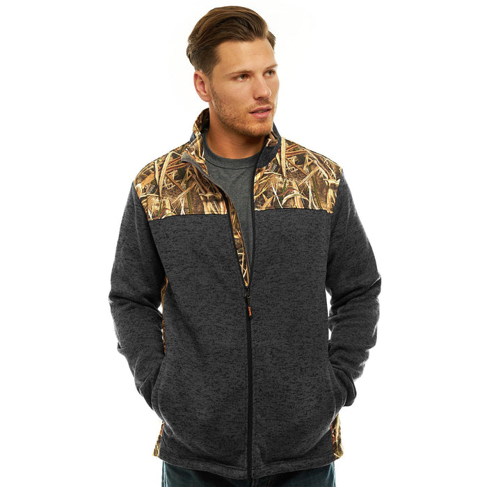 Men's Mossy Oak Signature Sweater Fleece Jacket Shadow Grass Blades Camo