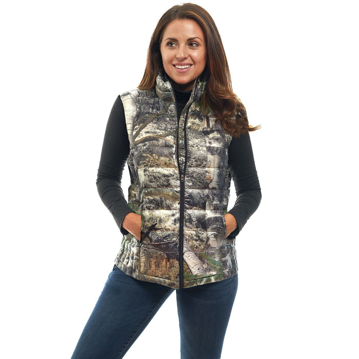 Women's Mossy Oak Down Puffer Vest Mountaion Country Camo