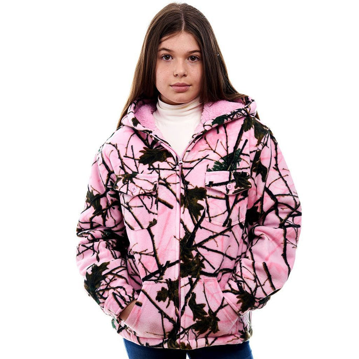 Toddlers Camo Sherpa Lined Zip Up Hooded Jacket