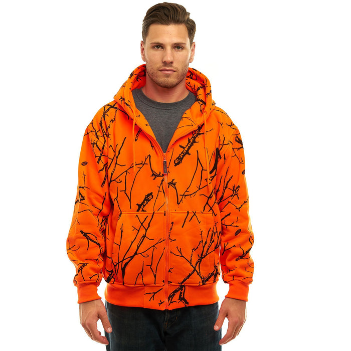 Men's Double Fleece Full Zip Blaze Camo Hoodie