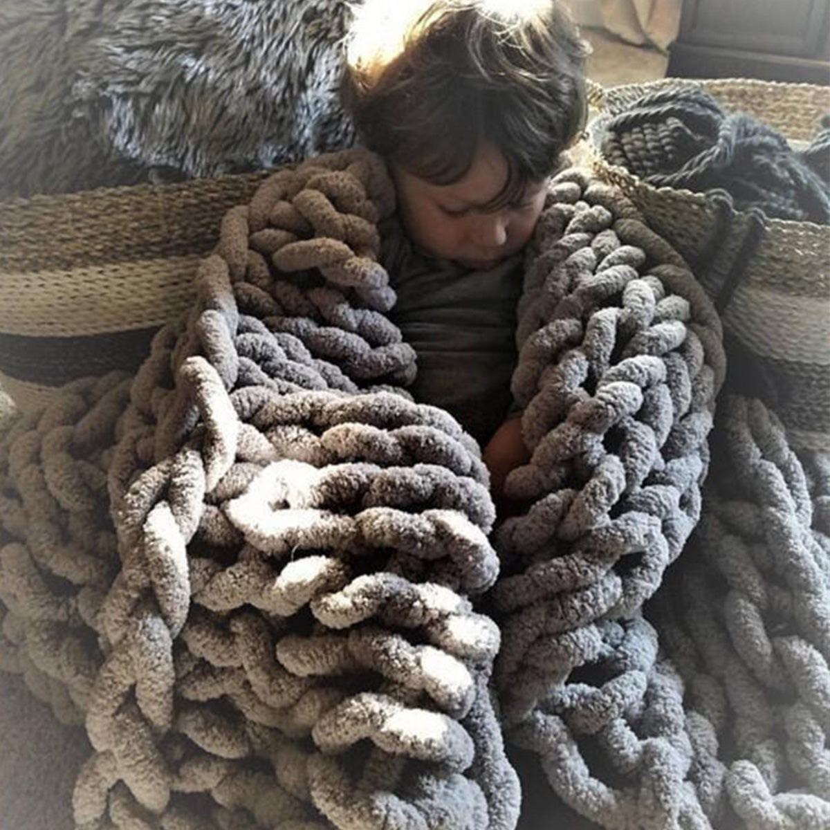 Handmade Knitted Cotton Lint-free Throw Blankets