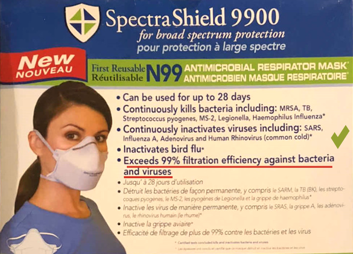Virus Medical Industrial Grade N99 Respirator Face Mask Protects Against 99% of all Viruses and Contaminants