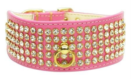 Dog Collar Velvet & Genuine Leather with 5 Rows of Crystals and Gold Crown Widget