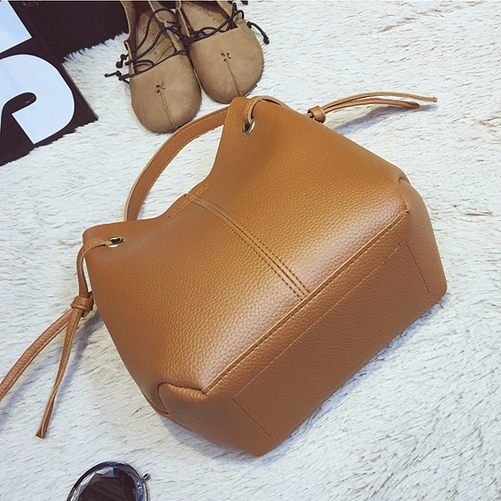 Two Piece Women Leather Tote Handbag And Clutch Wallet