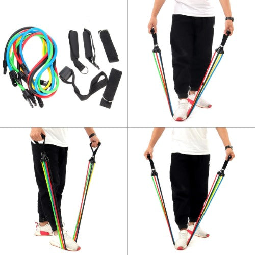 Resistance Bands Home Gym Yoga Training Full Body Physique 11 pc Fitness Exercise Equipment