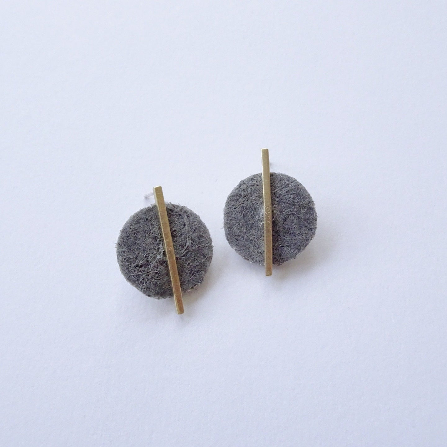 Hemp Dot Studs Earrings |  made from recycled brass & hemp