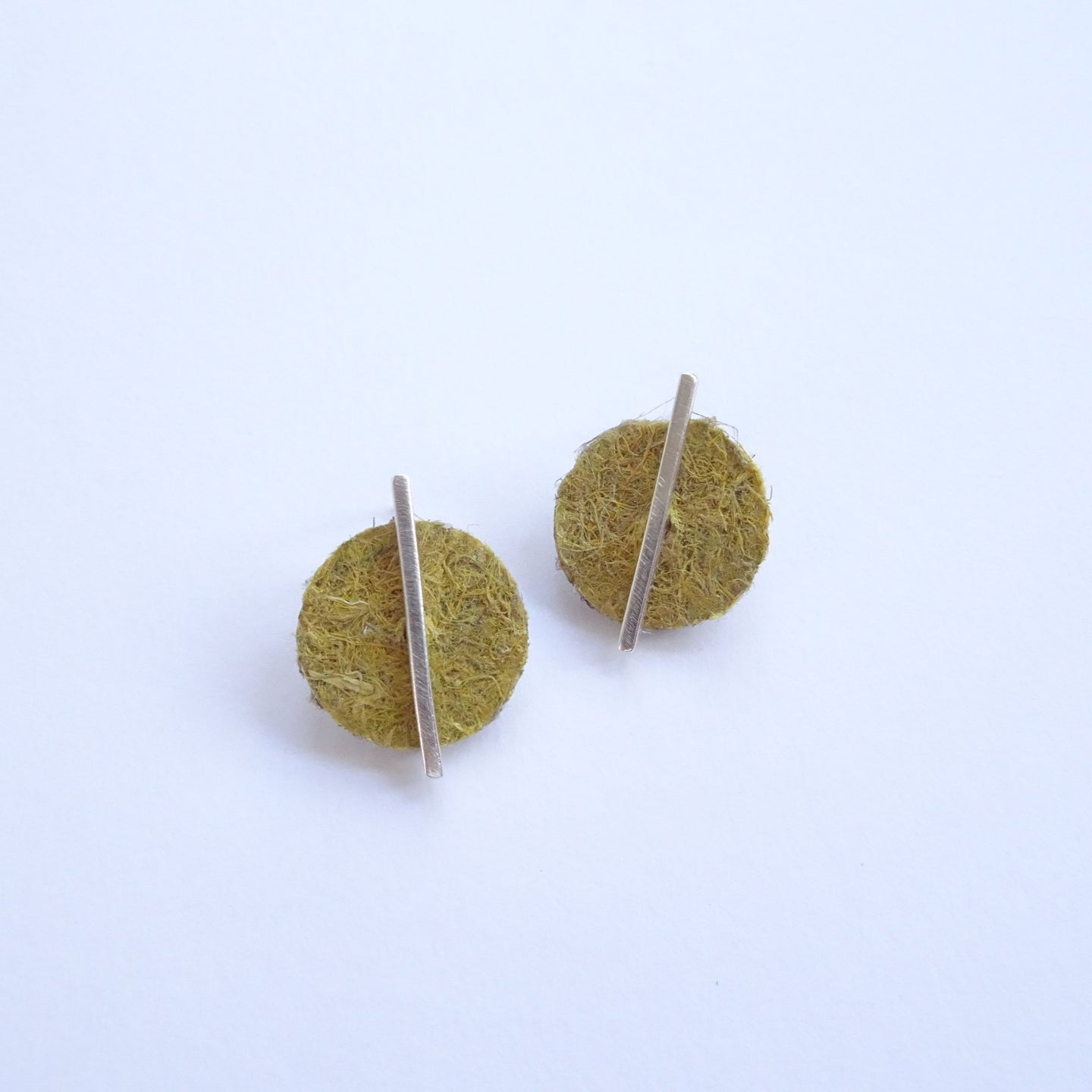 Hemp Dot Studs Earrings | made from recycled silver & hemp