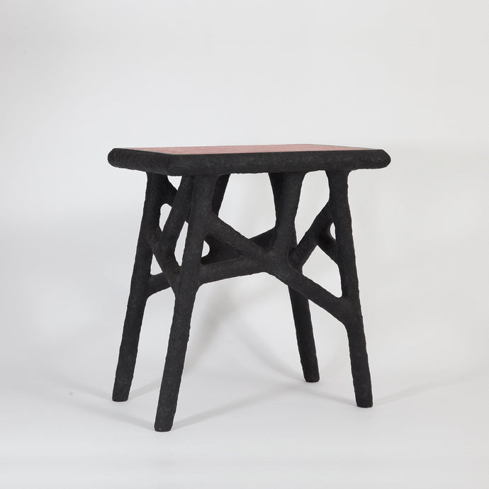 Alchemist's Side Table / black & red | one-off item | made from recycled newspapers - THE HOME OF SUSTAINABLE THINGS