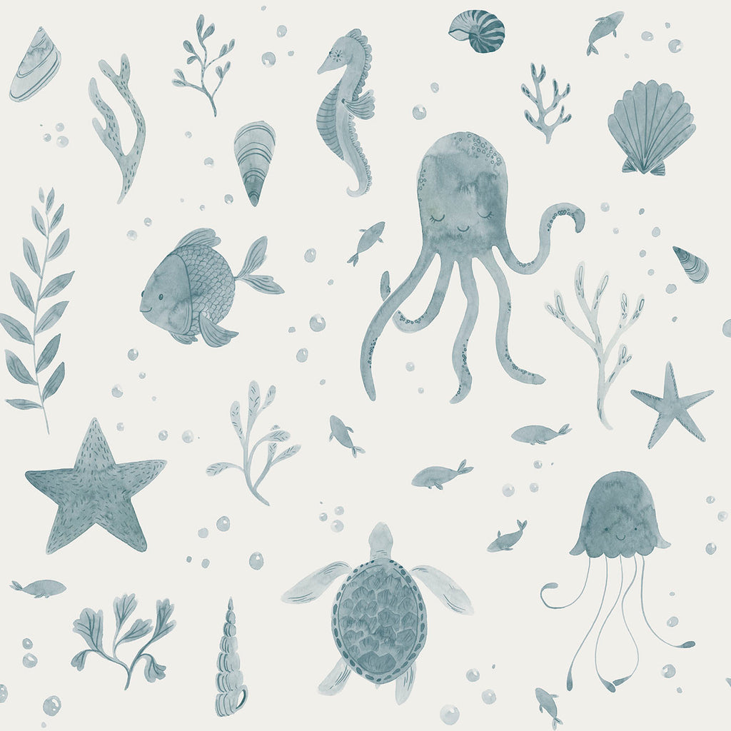 Corals and Friends Wallpaper- Blue