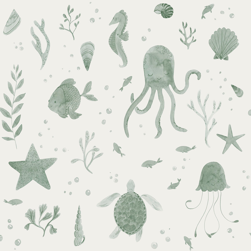 Corals and Friends Wallpaper- Green