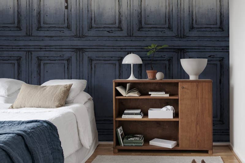 French Panels Wallpaper- Blue