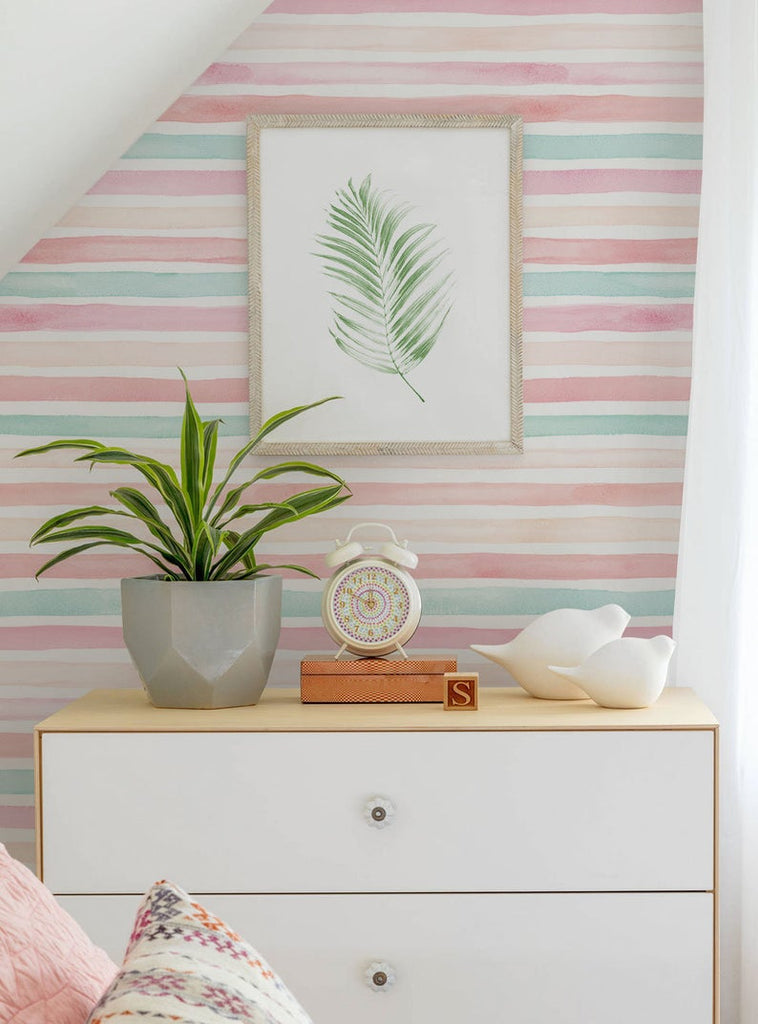 Coral Mint Stripes Wallpaper