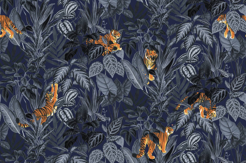 Playful Tiger wallpaper- Navy Blue