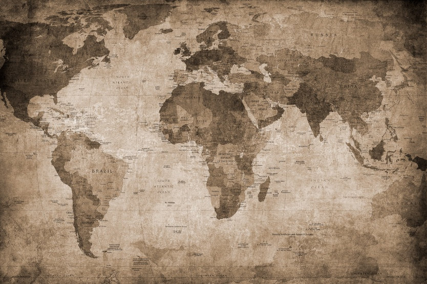 World Map (Brown) Wallpaper