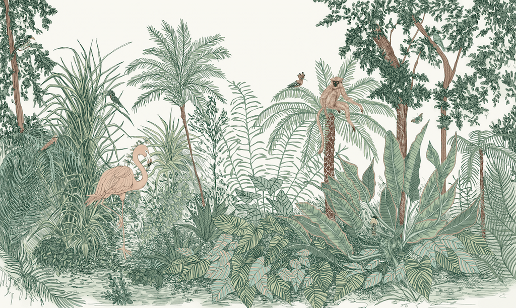 Forest Green Ara and Friends Jungle Wallpaper