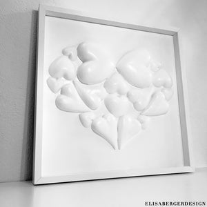 White Art Panel Realized with 3d recycled application. Called 'Heart of Hearts' this Art peace will fill your house with a sophisticated and delicate flavor. 50x50x5 cm UNIQUE PEACE by Designer Elisa Berger - PANNELLO DECORATIVO