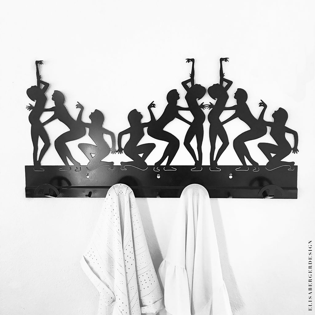 APPENDIABITI - This wall hanger wants to bring movement into your house space. The woman ballet shapes will fill your entrance with elegance, art and creativity.  Realized with a laser-cut black lacquered iron sheet. 90x45 cm  Shipping time : 2 weeks Delivery costs : free in Europe (for worldwide orders write to : elisabergerdesign@gmail.com)