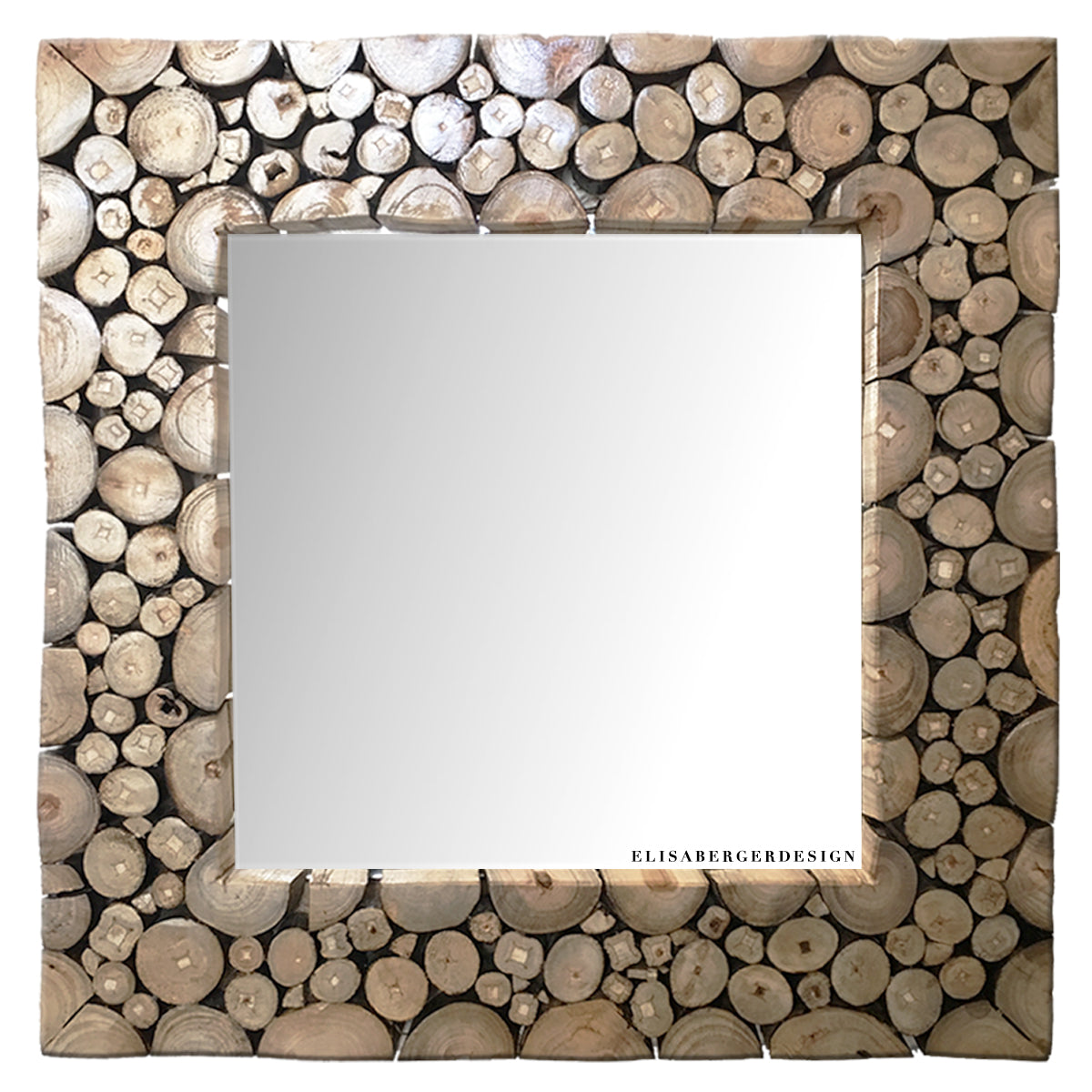 SPECCHIO 'Woody' is a squared mirror 50x50 cm. The design frame is realized with little wood logs, the surface is polished and lacquered. Also the support is made with wood, so this art peace is completely ecological. The Mirror suites good in every kind of space.   LIMITED EDITION - 1 PEACE ONLY  Delivery time : 10 days Shipping costs : free in Europe (for worldwide orders write to : elisabergerdesign@gmail.com)