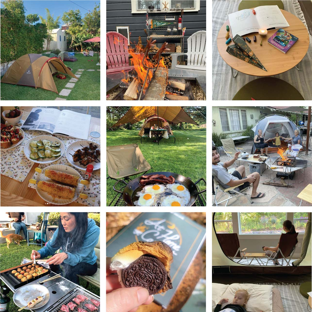 Grid of nine images submitted by Snow Peakers of their At Home Campout experience.