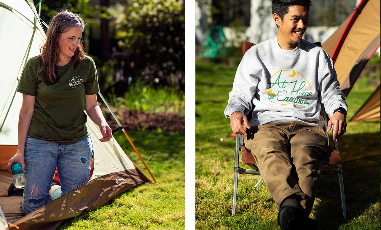Left image is a woman wearing an At Home Campout t-shirt. Right image is a man wearing an At Home Campout sweatshirt.