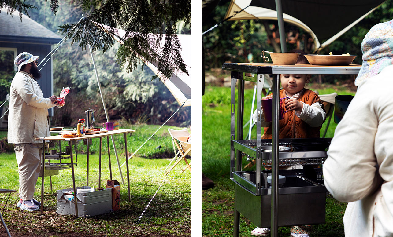 Left image is a person cooking over an amazing IGT setup. Right image is a small child exploring the outdoor kitchen.