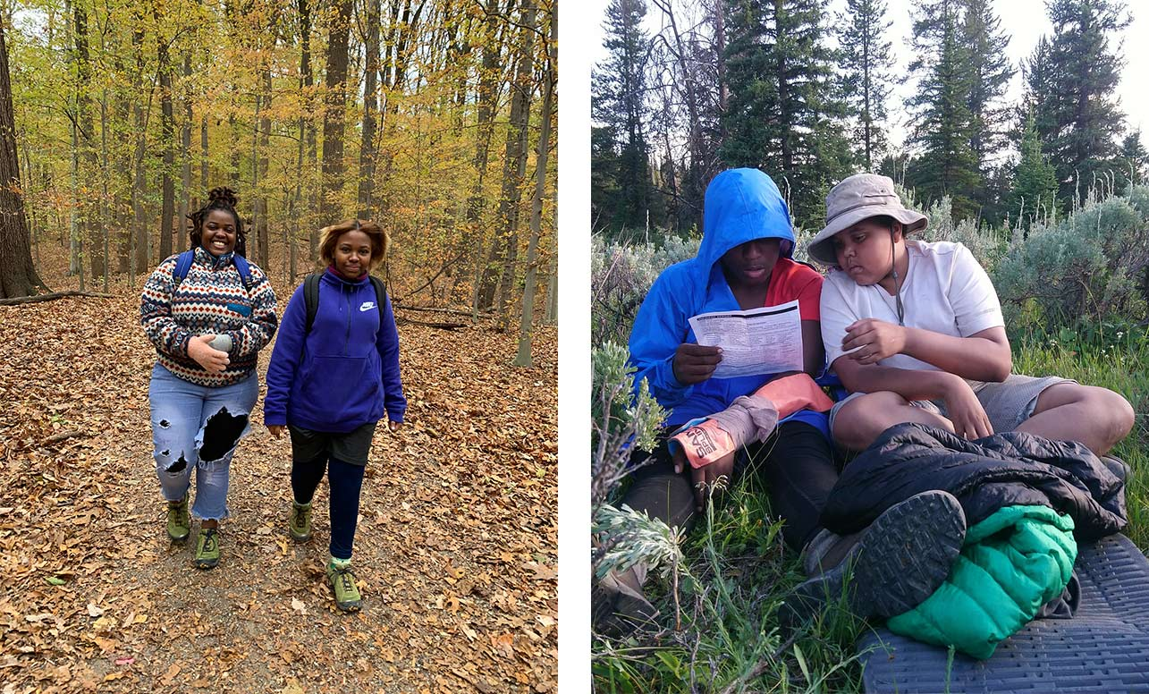 Left image shows two young hikers walking through the woods. Right image shows two kids sitting in the woods reviewing a map.