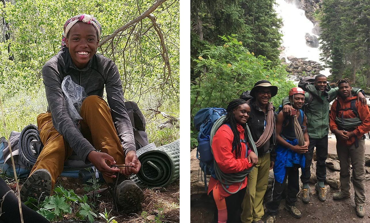 Left image shows a young camper sitting on a rock. Right image shows a group of young hikers standing in front of a picturesque waterfall.