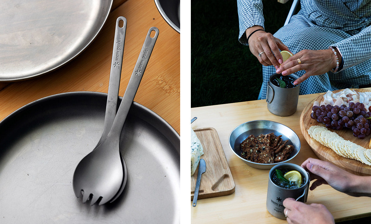 Left image shows Snow Peak titanium plateware and sporks. Right image shows a tasty spread of camping snacks on Snow Peak serveware.