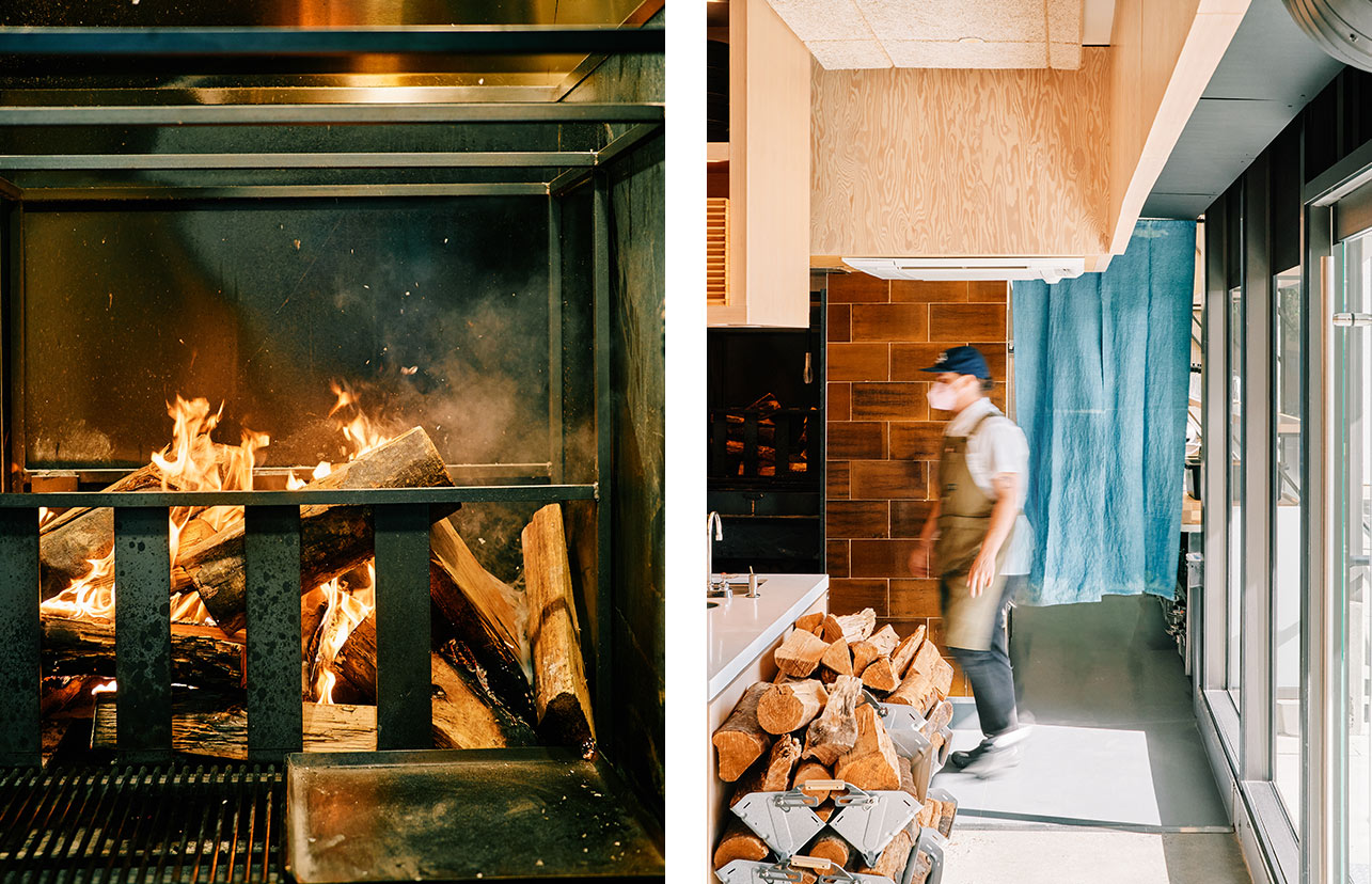 Left image shows a glowing hearth. Right image shows stacks of wood for the hearth and someone walking past.