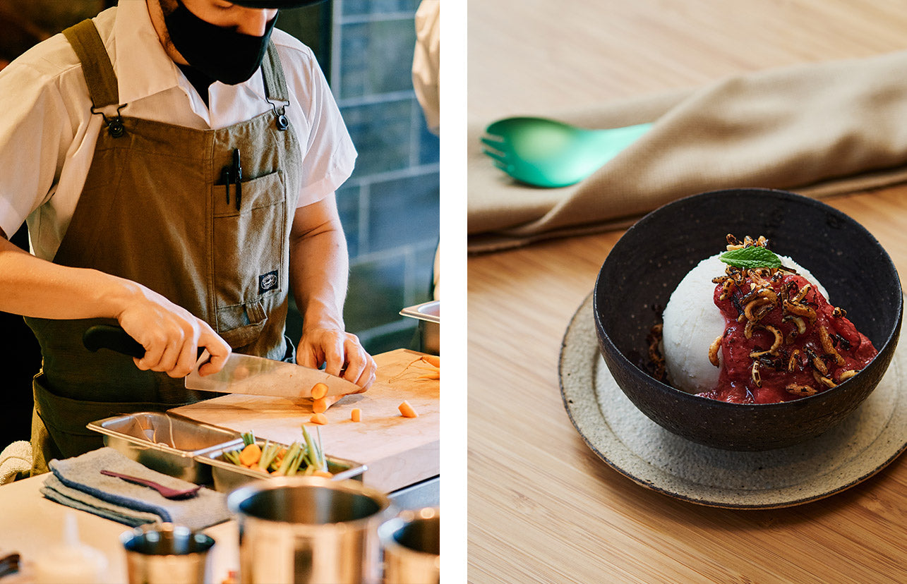 Left photo showing a line cook preparing a meal. Right photo showing a beautiful dessert presentation.