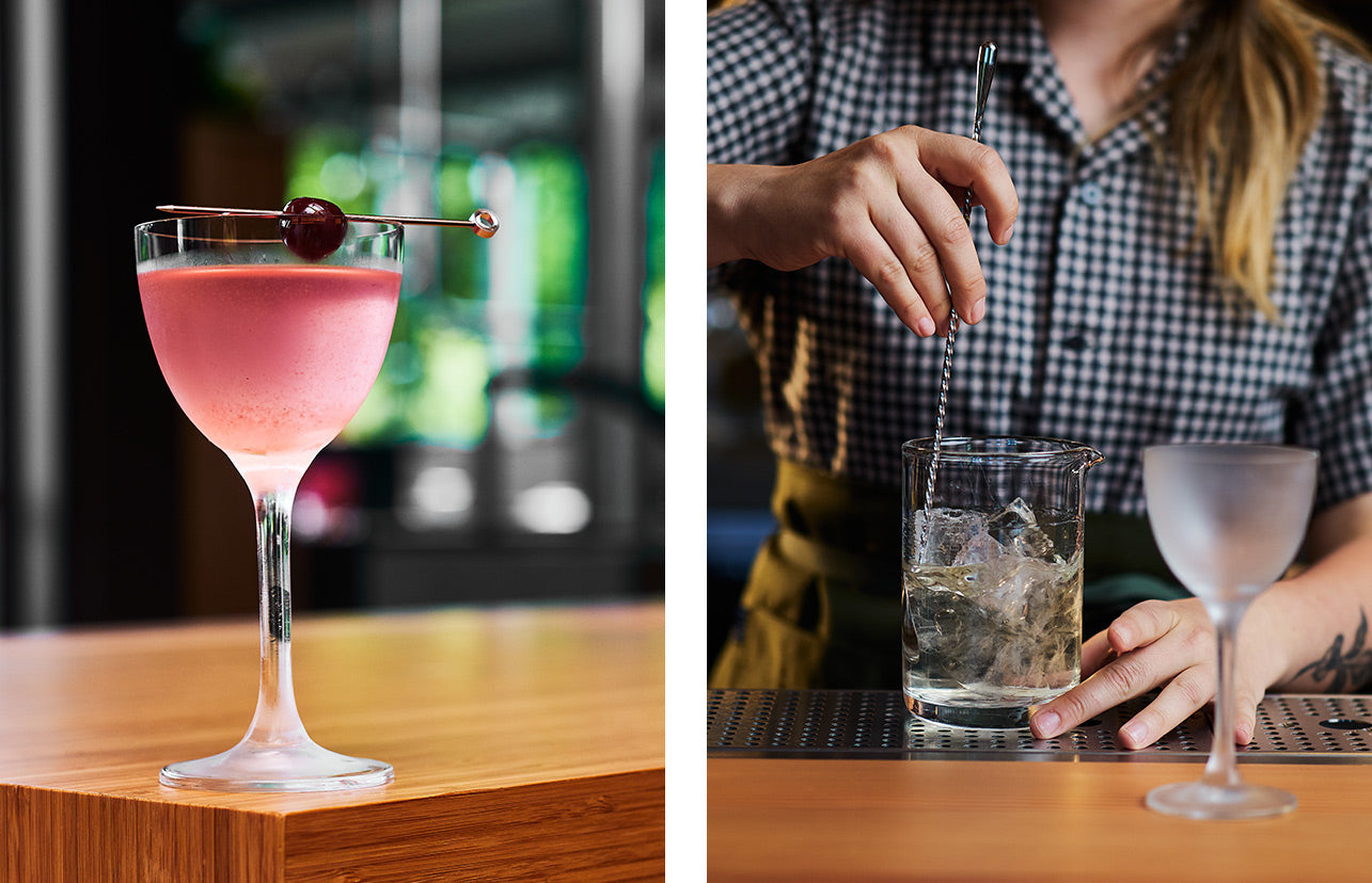 Left photo shows a bright pink cocktail in a stem glass. Right photo shows a person stirring a cocktail as they prepare it.