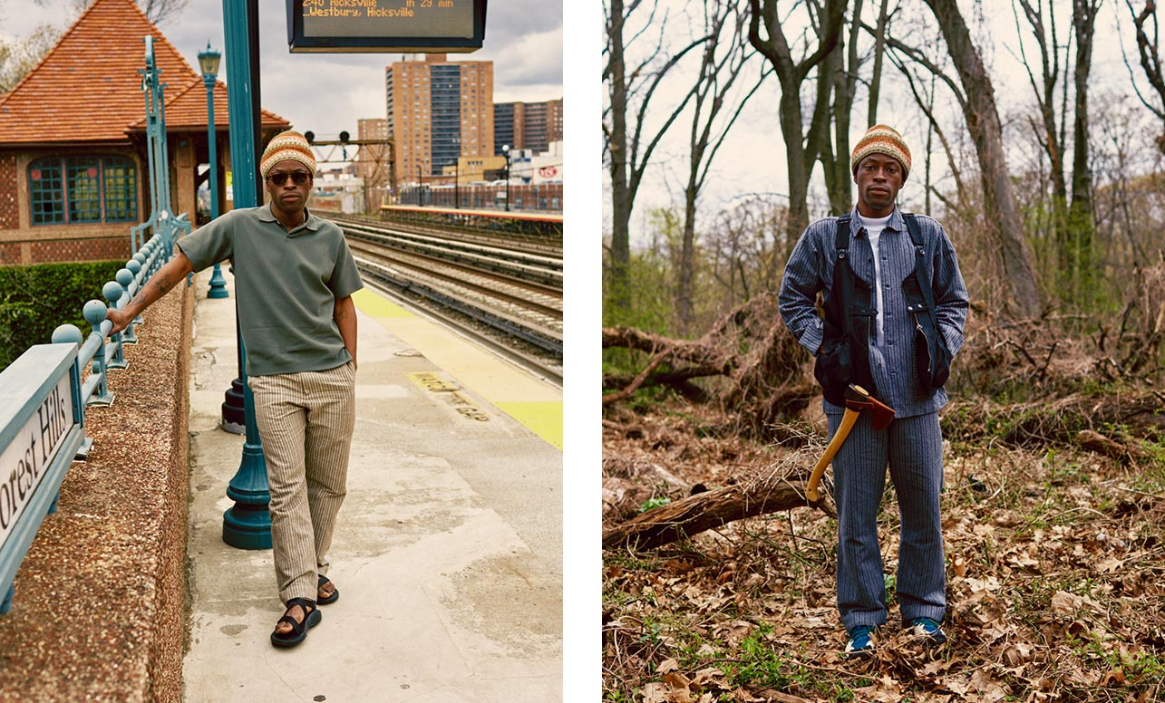 Two images of a person standing in the Cotton Dobby Stripe clothing. The left image shows them in the Cotton Dobby Stripe pants standing on a bridge. The right image they are standing in the woods.